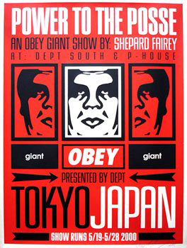 Shepard Fairey_obey Tokyo_Show_Power_to_the_Posse_2001