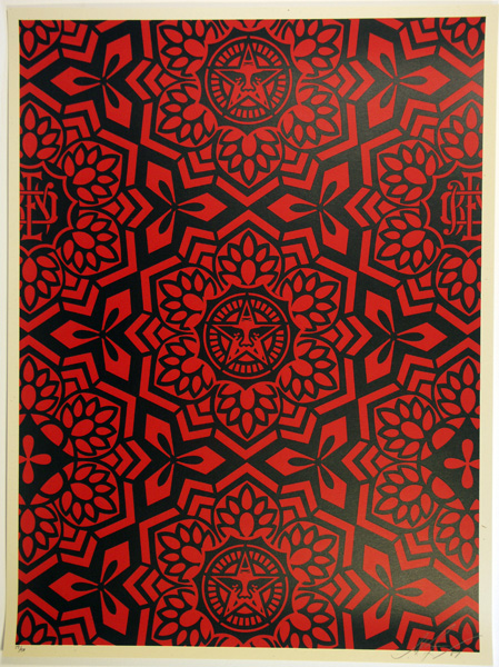 SHEPARD FAIREY obey GIANT YEN PATTERN BLACK RED_ Kirk_Pedersen_projects