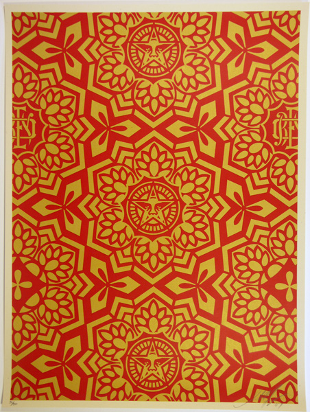 SHEPARD FAIREY obey GIANT YEN PATTERN RED GOLD_ Kirk_Pedersen_projects